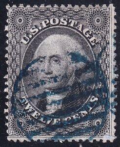 US STAMP #36 – 1857-61 12c Washington, black used stamp $300