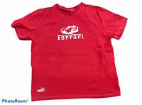 Men's PUMA FERRARI Red Logo T-Shirt Top Short Sleeve Size Extra Large XL