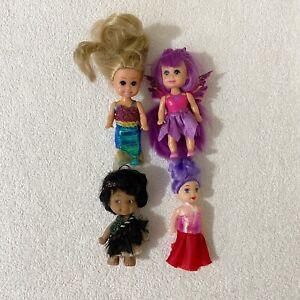 "4 x Small Dolls Butterfly Mermaid Maori 4"" Toys Figures Bundle Lot"