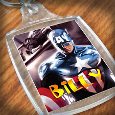 Personalised CAPTAIN AMERICA  KEYRING, Lunch Bag, son daughter grandson Gift