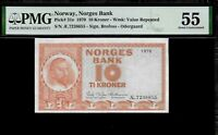 Norway 10 Kroner 1970 PMG 55  P#31e  PMG Population 1/2