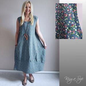 ITALY Sommer Kleid - Lagenlook / Casual Dress Lose Outfits LEINEN Gr.50 blau