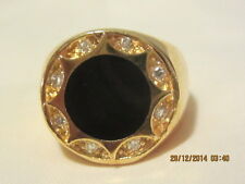Lovely Yellow Gold Filled  signet ring - Onyx and swar crystal - Size 9