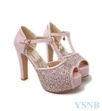Sexy Ladies Glitter Sequin Peep Toe Platform Block High Heels Party Wedding Shoe
