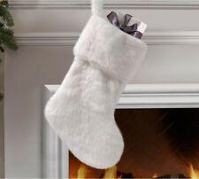 Christmas White Faux Fur Short Stockings Plush Fluffy Xmas Tree Decor Ornaments