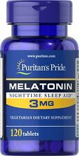 Puritan's Pride Melatonin 3 mg - 120 Tabs - Nighttime Sleep Aid- Vegetarian