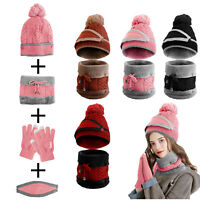 Women Winter Beanie Knitted Hat Scarf Set Touch Screen Gloves Face Mask Gift US