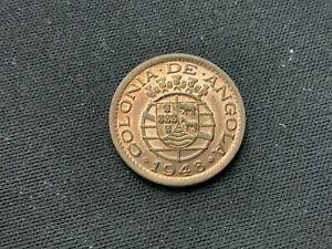 1948 Angola 20 Centavos Bronze Coin AU   #K167