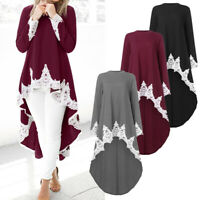 UK Womens Long sleeve Casual Pullover Irregular Hem Tops Blouse Lace Shirt Dress