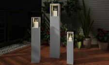 Wood Candle Stand Grey Garden Set 3pcs Holder Outdoor Lighting Torch Lantern