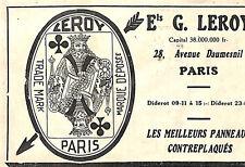PARIS AVENUE DAUMESNIL PUBLICITE ETS LEROY PANNEAUX CONTREPLAQUE 1930