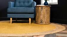 Bohemian Jute Rugs Home Living Floor Mats Yellow Round Area Rag Rug 300 x 300 cm