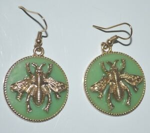 2 Vintage Circle Drop Earrings Gold Colour Bees Mounted on Fake Jade 4.5cm Long