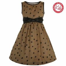 LINDYBOP Children's Mini Candy Mocha & Black Polka Dot Dress with Bow. Age 9-10