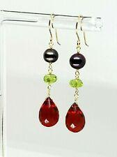 14k Yellow Gold Ruby Briolette, Peridot and Freshwater Pearl Dangle Earrings