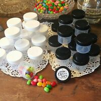 24 New Plastic Screw Top Lid Jars  black & white caps #4304 USA DecoJars