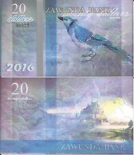 ZAWUNDA 20 DOLLARS 2016 BLUE BIRD - UNC - Fantasy Banknote