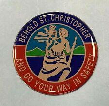 St Christopher Sticker/Decal  - 50mm Diameter HIGH GLOSS DOMED GEL FINISH