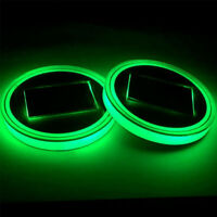 2X GREEN Solar Cup Pad Car Accessories LED Light Cover Interior Decoration Light