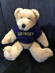 """CHANNEL ISLANDS JOINTED TEDDY BEAR in GUERNSEY JUMPER/ APPROX 10 """""""