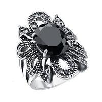 Plata 925 Piedra preciosa negra Anillo nupcial para mujer Joyería de moda
