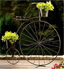 OLD-FASHIONED HIGH WHEELED BICYCLE PLANT STAND * IRON W/ 2 BUCKETS * NIB