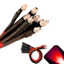 10 x Pre wired 12v 3mm Red LEDs Prewired 12 volt DC LED Car 10v 11v 13v 14v 15v