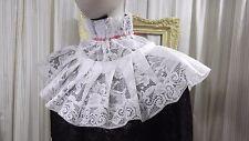 White lace Jabot pirate Gothic Lolita Victorian Steampunk red tie COLLAR 4923
