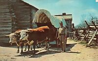Conestoga Wagon & Ox Team, New Salem State Park, Illinois Vintage 1973 Postcard
