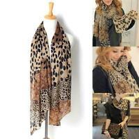 Women Ladies Leopard Print Soft Chiffon Shawl Neck Wrap Scarf Stole Scarves E7P0