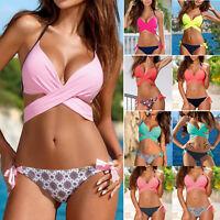 Women Padded Push Up Bra Bikini Set Halterneck Bathing Swimsuit Beach Swimwear