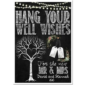 Chalkboard Wedding Wishing Tree Sign Guest Book Poster, DIGITAL DOWNLOAD ONLY