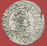 1670 Austria 3 Silver Kreuzer COIN Leopold I The Hogmouth