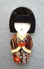 Traditional Multi Colour Browns Lucite? Vintage Japanese Lady Brooch