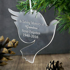 Personalised Dove Shape Decoration, Christmas, Memorial, Add Any Message