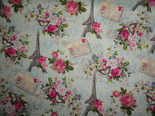 Fabric, Pink Roses, Vintage Paris, Eiffel Tower, Cotton Fabric, sewing quilting.