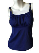 Lands End Ruched Neck Wide Strap w Gold Accent Tankini Sports/Swim Top - 4 Blue