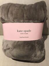 "New! Kate Spade Gray Greige King Plush Soft Fleece Blanket 112""x92"""