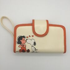 VTG Snoopy Kissing Lucy Peanuts Wallet Wristlet Clutch Cream with Orange Trim