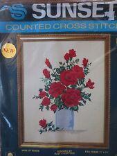 sunset vase of roses flowers ctd cross stitch kit -hoeffner