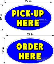 Single Sided Plexiglass Signs Order & Pick Up Here 2 Signs Blue Yellow