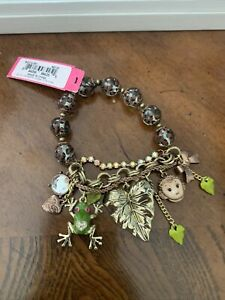 NWT Betsey Johnson Monkey Frog Leaf Leopard Print Charm Bracelet - Ret. $50