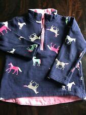 Joules girls half zip sweatshirt blue/pink size 6