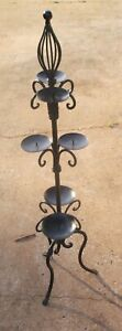 """VINTAGE 36"""" Tall WROUGHT IRON 3 Legs CANDELABRA ~ Candle Holder Holds 6 Candles"""