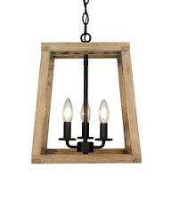 Modern Rustic Wooden Lantern 3 Light Fixture Ceiling Pendant Black Accent New!