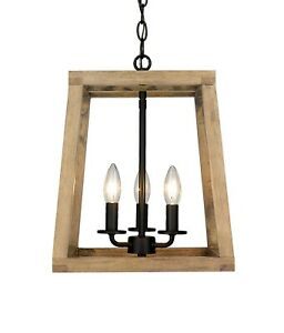 Modern Rustic Wooden Lantern 3 Light Fixture Ceiling Pendant Black Accent New!