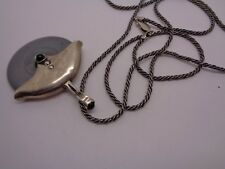 VINTAGE SOLID STERLING SILVER &HERMANTITE  NECKLACE SILVER CHAIN JET BEAD DETAIL