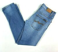 "Nudie Thin Finn Super Blue Men's Jeans Actual Size W32"" L32"""
