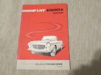 Libretto uso e manutenzione Fiat 1500 S Cabriolet 2° ediz. anno 1961 rarissimo
