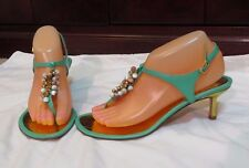Wills Fansy Turquoise / Gold Leather T- strap Slingbacks SANDALS~ Sz 8 M ~Italy